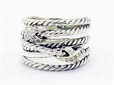 David Yurman 925 Sterling Crossover Ring  Diamonds