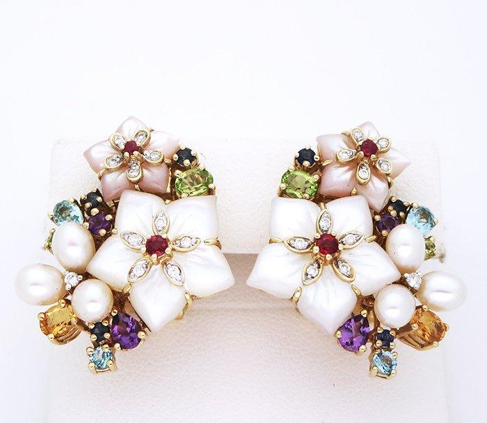 Vintage 14K Yellow Gold Multi Color Gemstone Earrings.