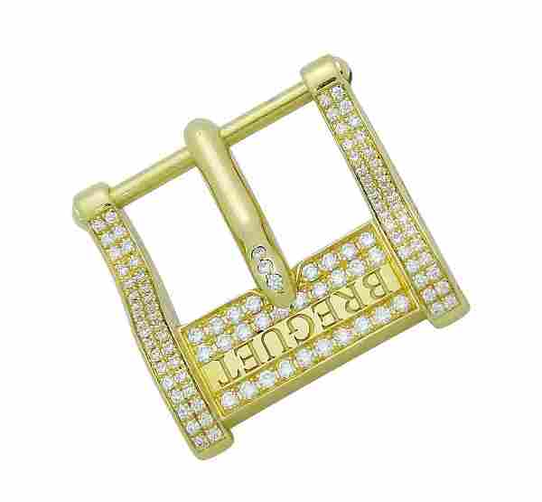 Breguet 18K Y Gold Diamond Tang Pin Buckle Clasp 14mm