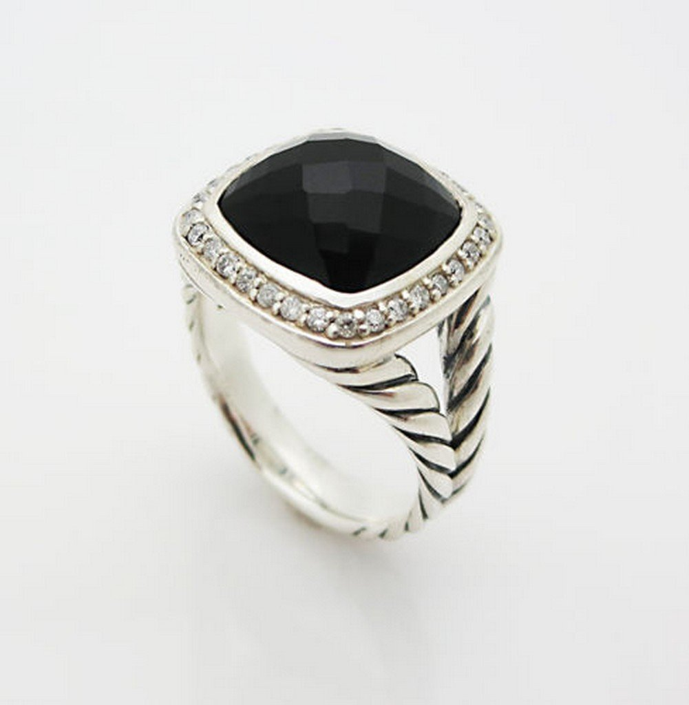 David Yurman Ring with Black Onyx and Diamonds Size 7