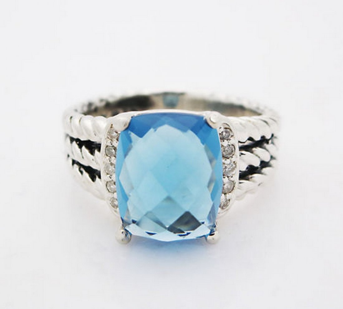 David Yurman Petite Wheaton Ring Blue Topaz & Diamonds