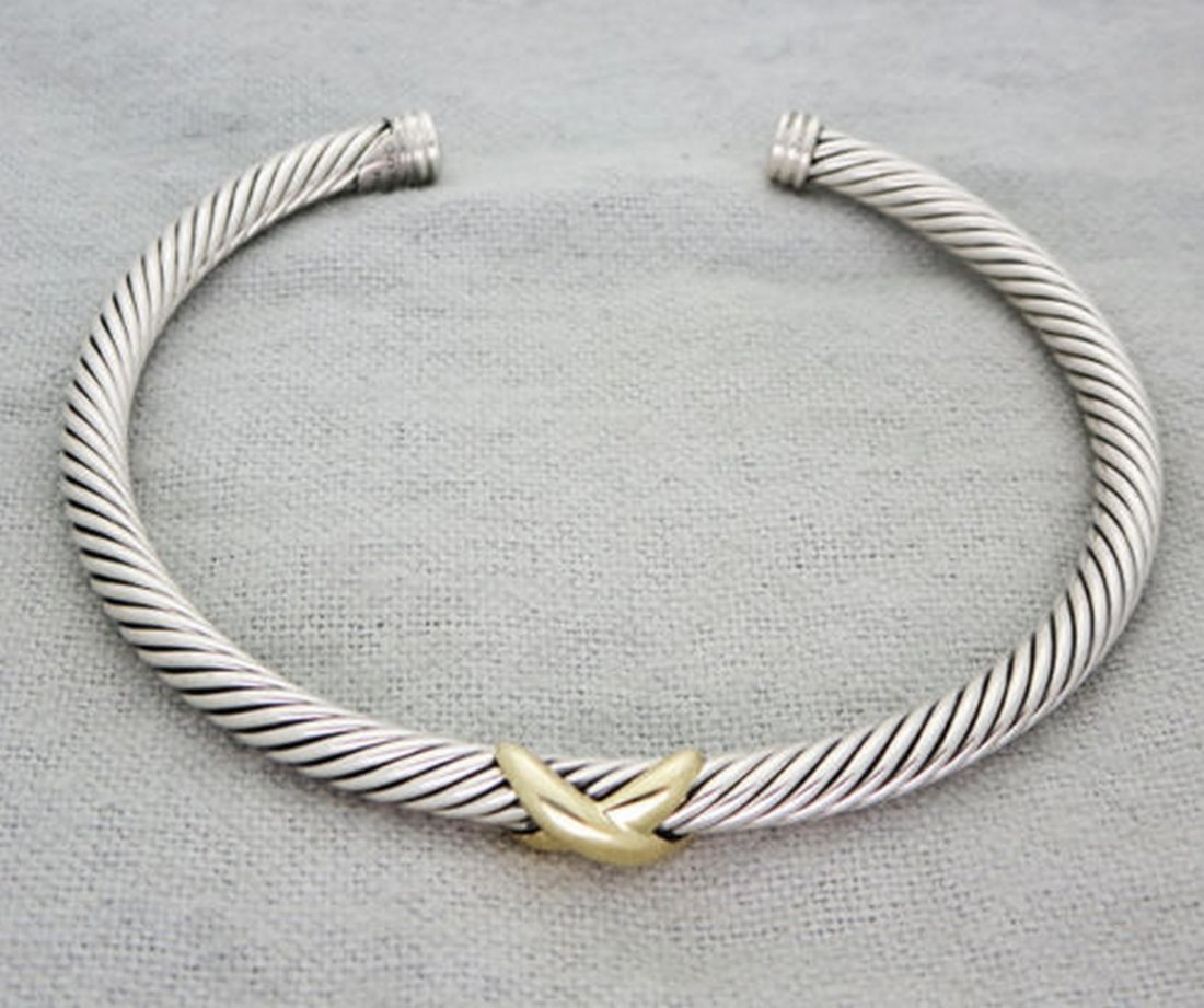 "David Yurman Sterling Silver X Bracelet & Gold 7"" size"