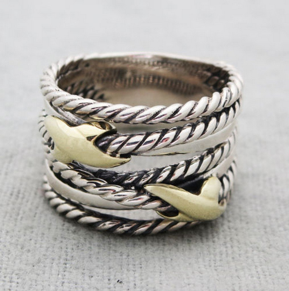 David YurmanSterling Silver Double X Crossover  Gold