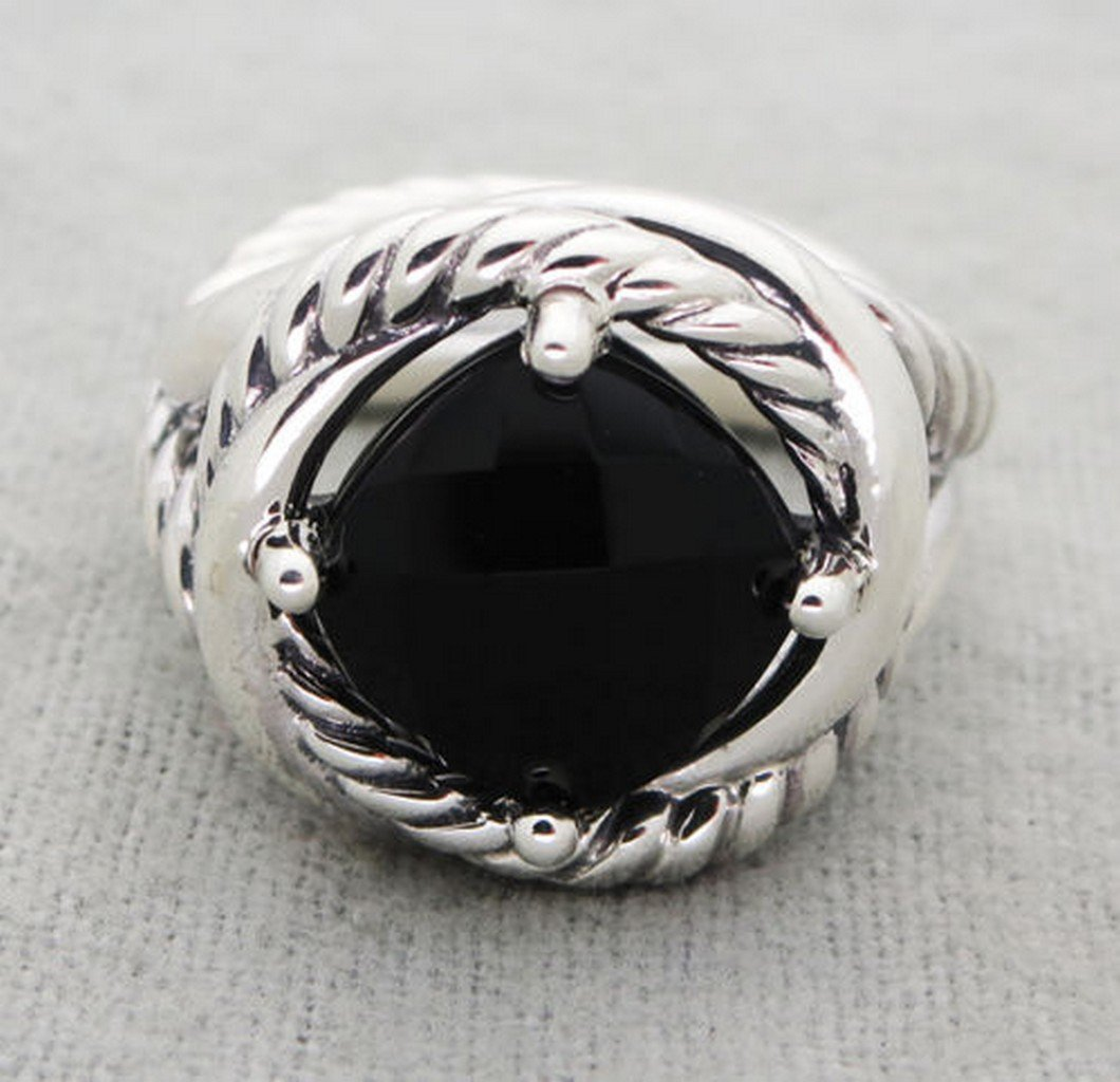 David Yurman Sterling Silver Infinity Black Onyx Ring