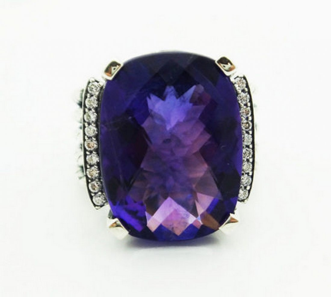 David Yurman Wheaton Amethyst & Diamond Ring Size 6