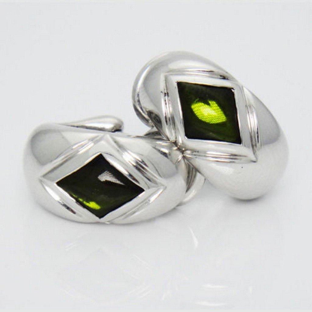 Montblanc 18K White Gold Cabochon Peridot Ring and Pair