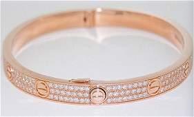 Cartier 18k Rose Gold Diamond Paved Love Bracelet