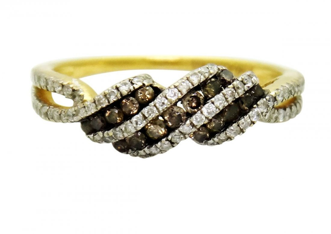 Kallati 14k Gold  0.5TCW Chocolate White Diamonds Ring