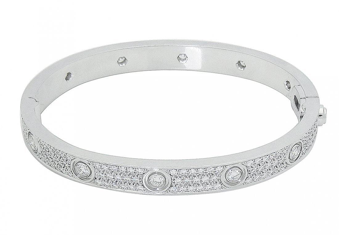 Cartier 18k White Gold Diamond Paved Love Bracelet
