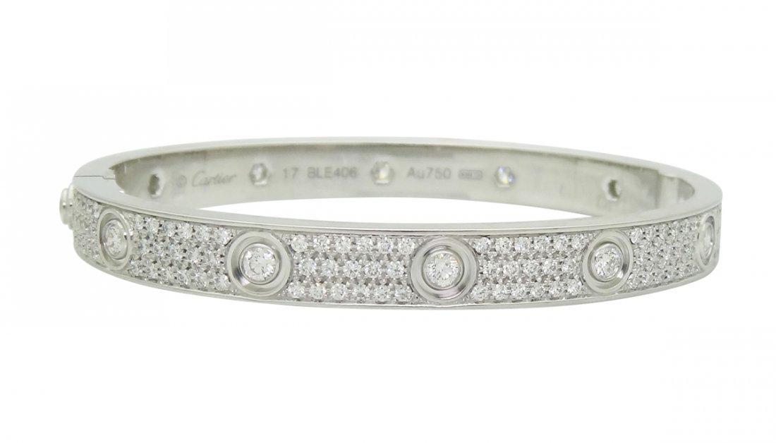 Cartier 18K W Gold Love 3.16tcw Diamond- Paved Bracelet