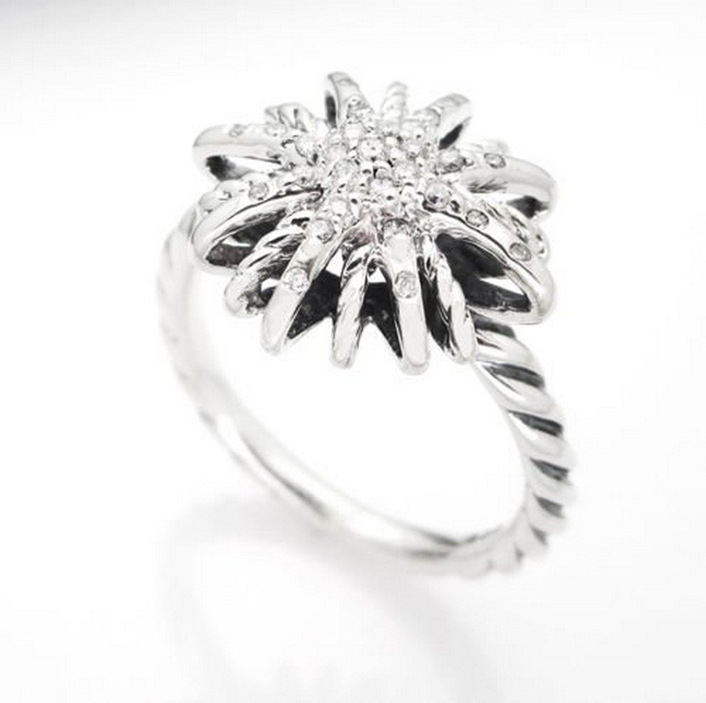 David Yurman Sterling Silver Starburst Ring & Diamonds