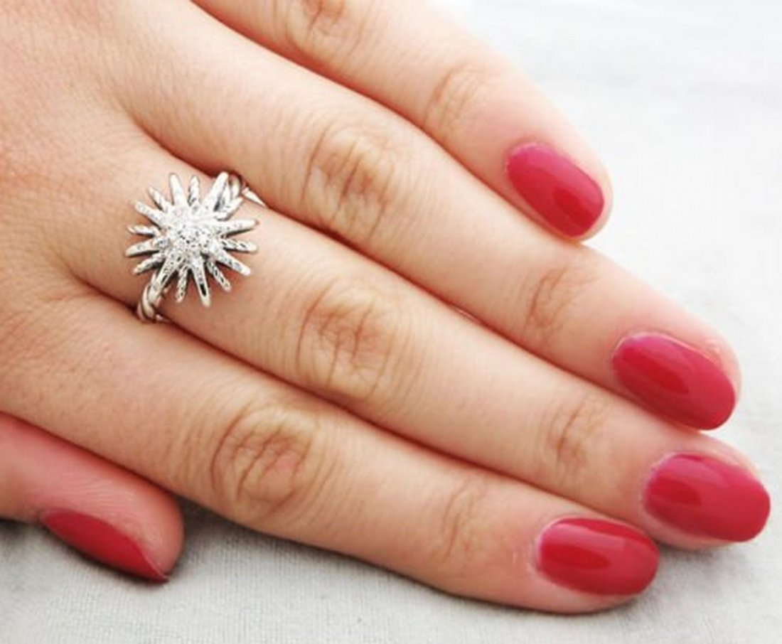 David Yurman Sterling Silver Starburst Ring & Diamonds - 3