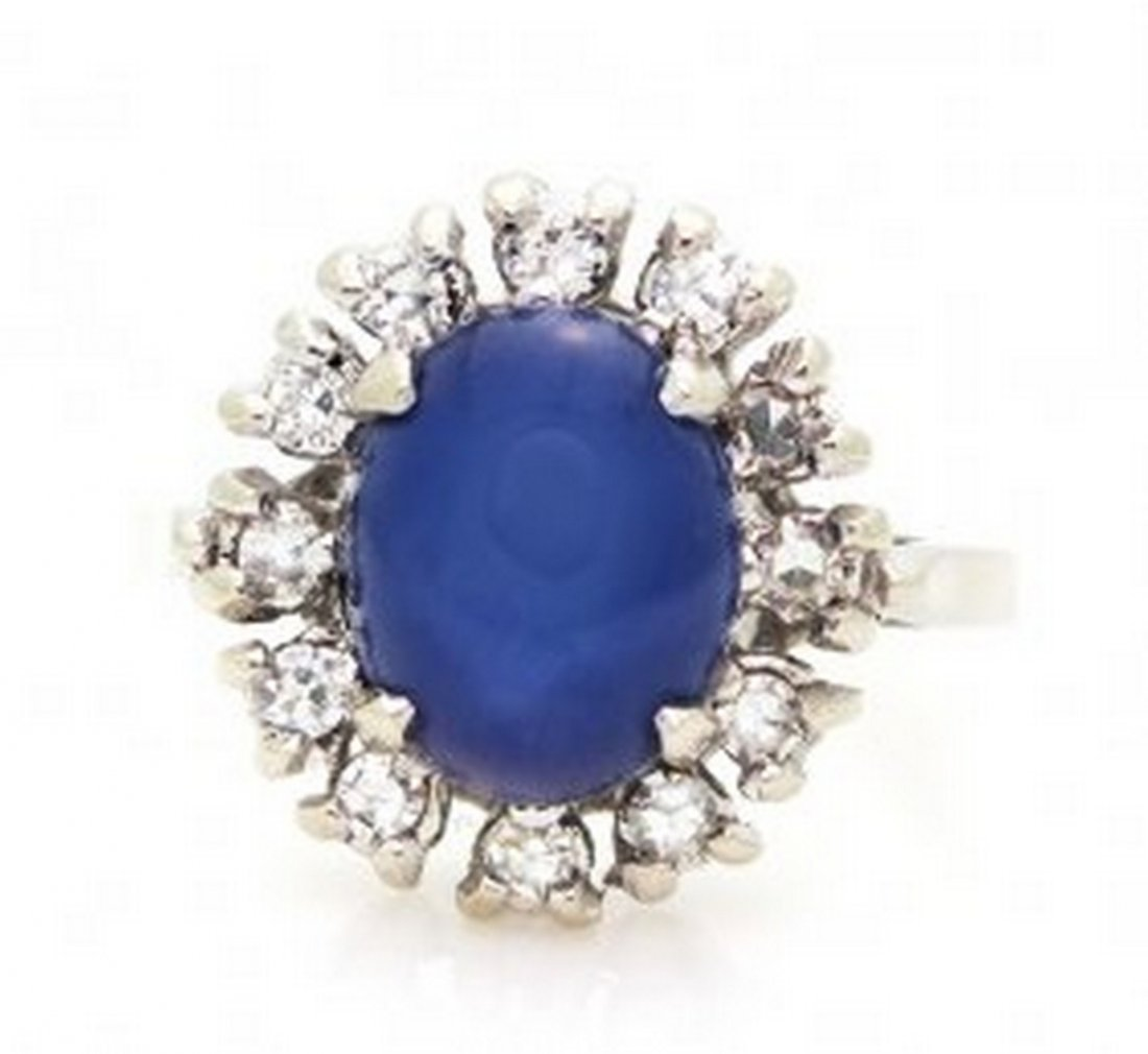 Vintage Star Sapphire Diamond Ring in 14K White Gold,