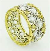 Buccellati 18k Gold  Diamond Band Ring Size 65