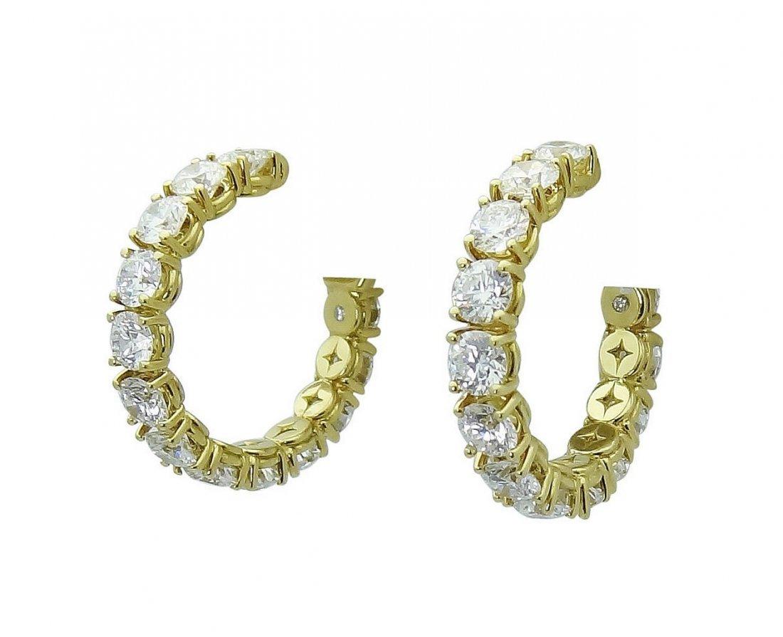 18K Gold 3.65 TCW Round Brilliant Diamond Hoop Earrings