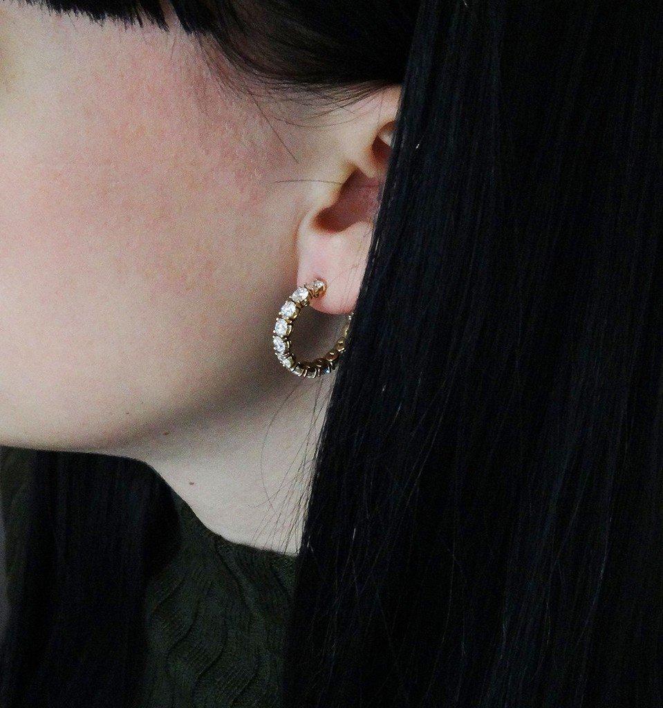 18K Gold 3.65 TCW Round Brilliant Diamond Hoop Earrings - 2