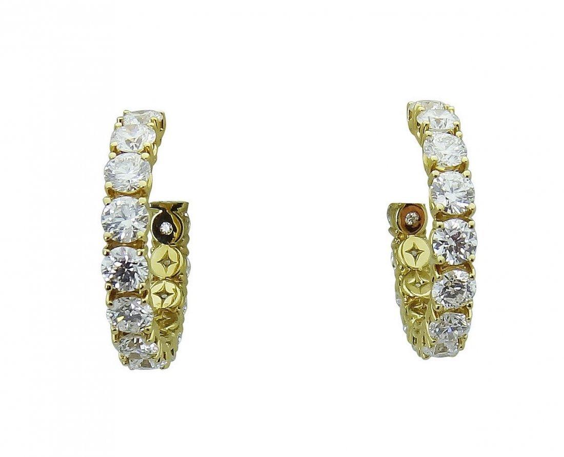 18K Gold 3.65 TCW Round Brilliant Diamond Hoop Earrings - 3