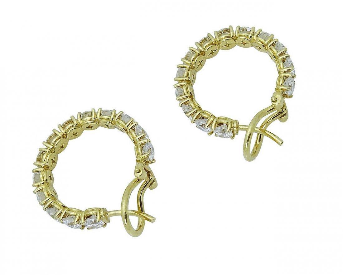 18K Gold 3.65 TCW Round Brilliant Diamond Hoop Earrings - 4