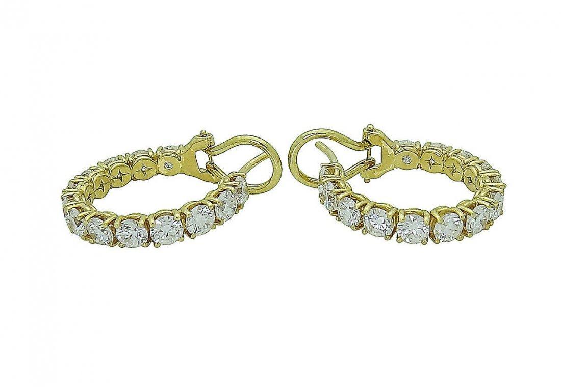 18K Gold 3.65 TCW Round Brilliant Diamond Hoop Earrings - 5