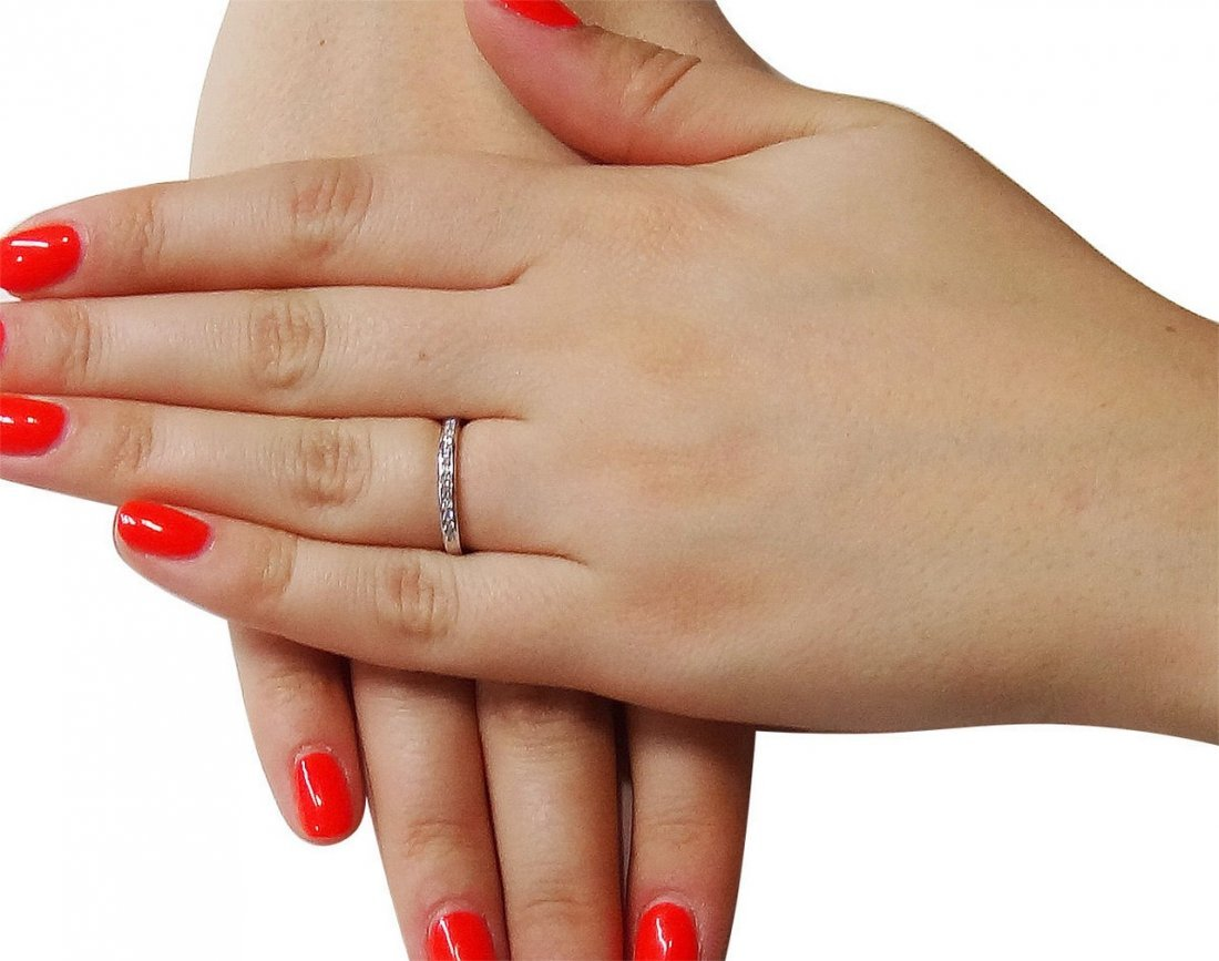 Tiffany & Co Round Brilliant Diamond Wedding Band Ring - 4