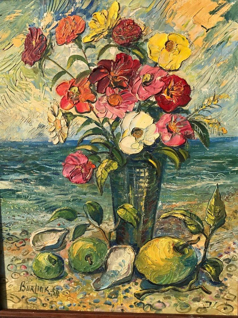 David Burliuk  Oil Painting on Board Bouquet of Flowers