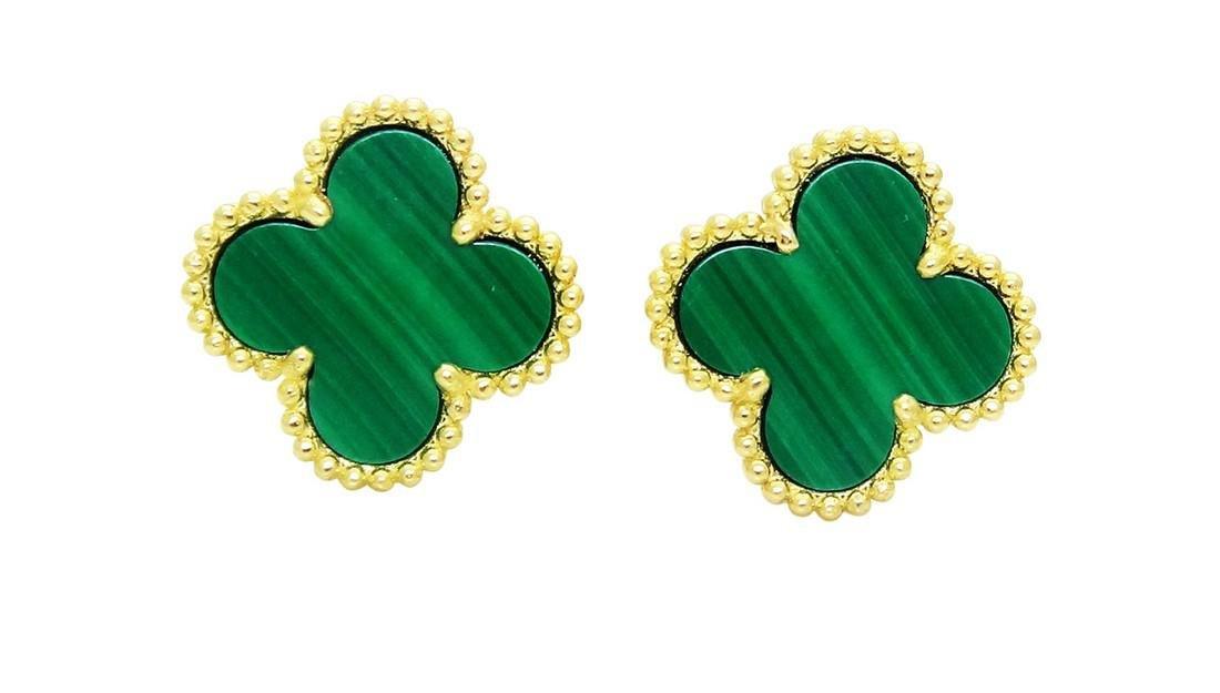 Van Cleef Alhambra 18K Y Gold Malachite Stud Earrings