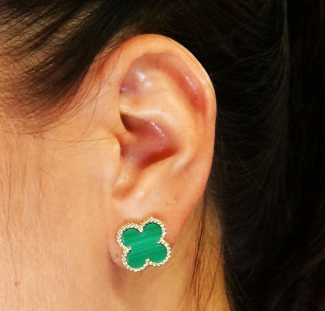 Van Cleef Alhambra 18K Y Gold Malachite Stud Earrings - 2
