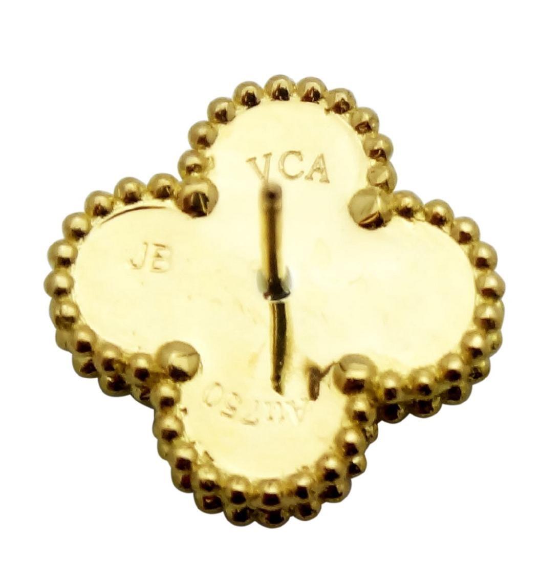 Van Cleef Alhambra 18K Y Gold Malachite Stud Earrings - 3