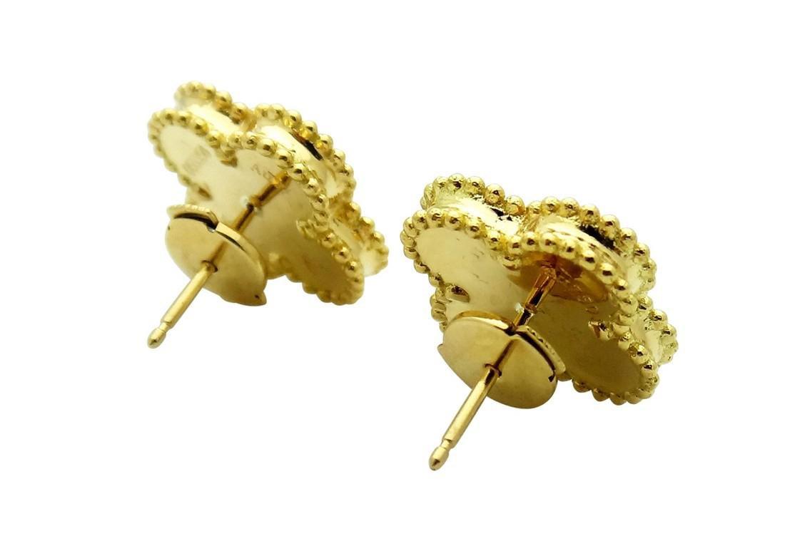 Van Cleef Alhambra 18K Y Gold Malachite Stud Earrings - 4