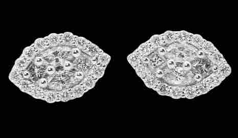 18k White Gold & Apx 2.00 TCW VS-SI G-H Diamond Cluster