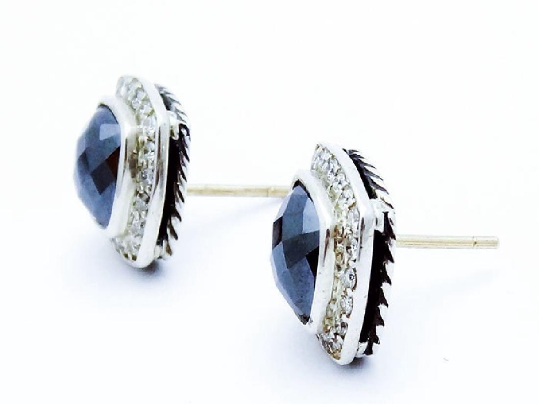 David Yurman Silver Albion Earrings Hematite & Diamonds - 3