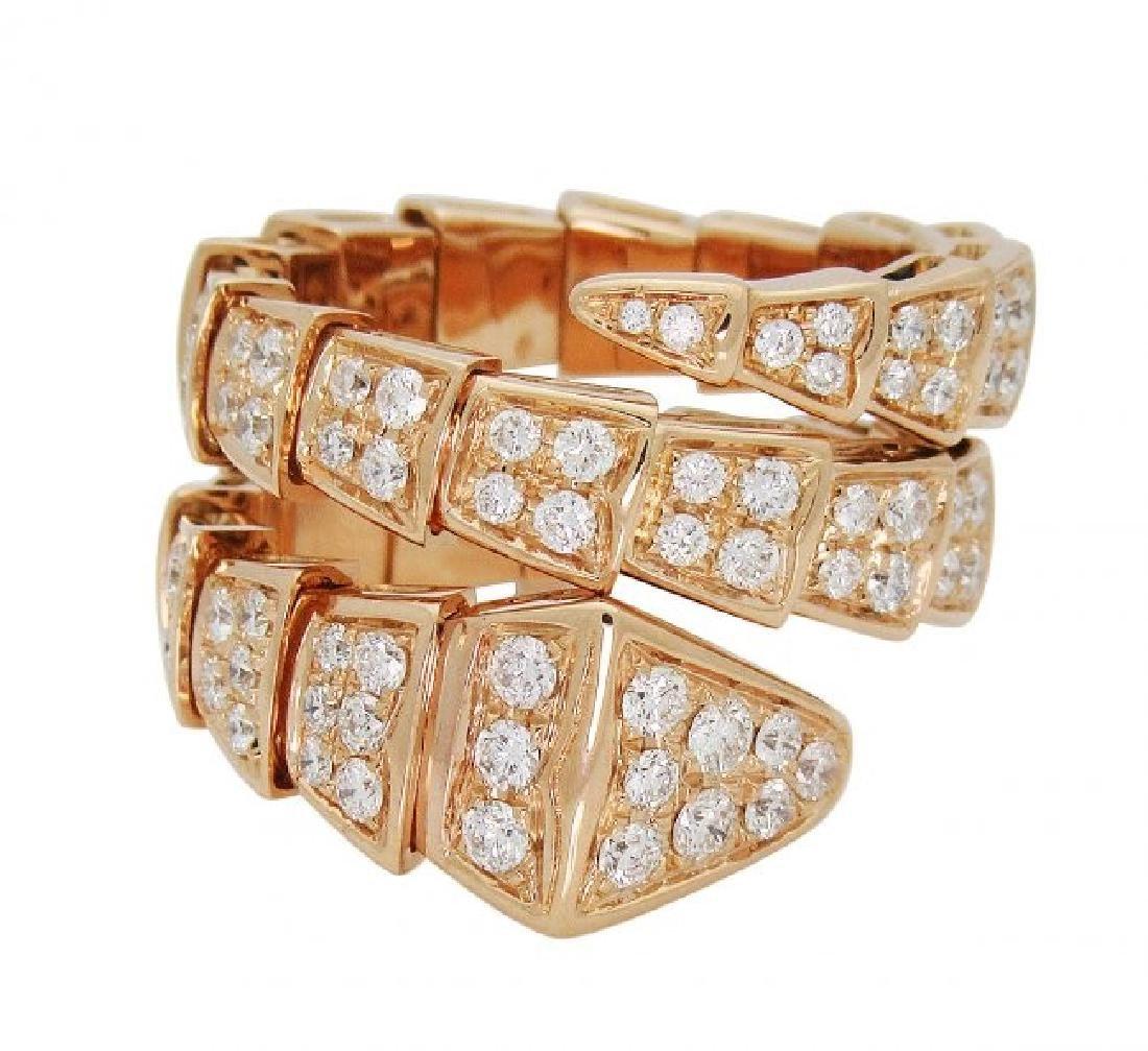 Bulgari Seprenti 18k Rose Gold Pave Diamonds Ring