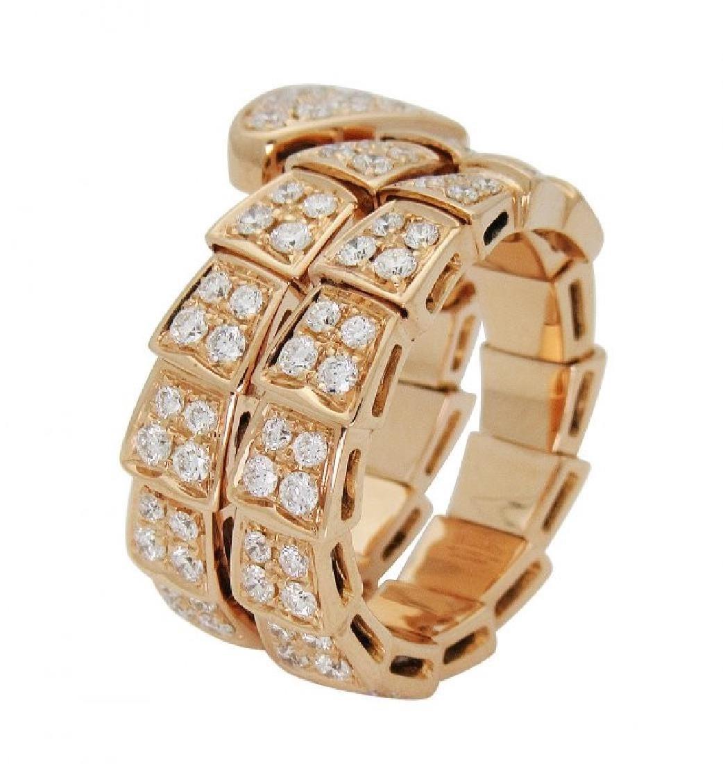 Bulgari Seprenti 18k Rose Gold Pave Diamonds Ring - 2
