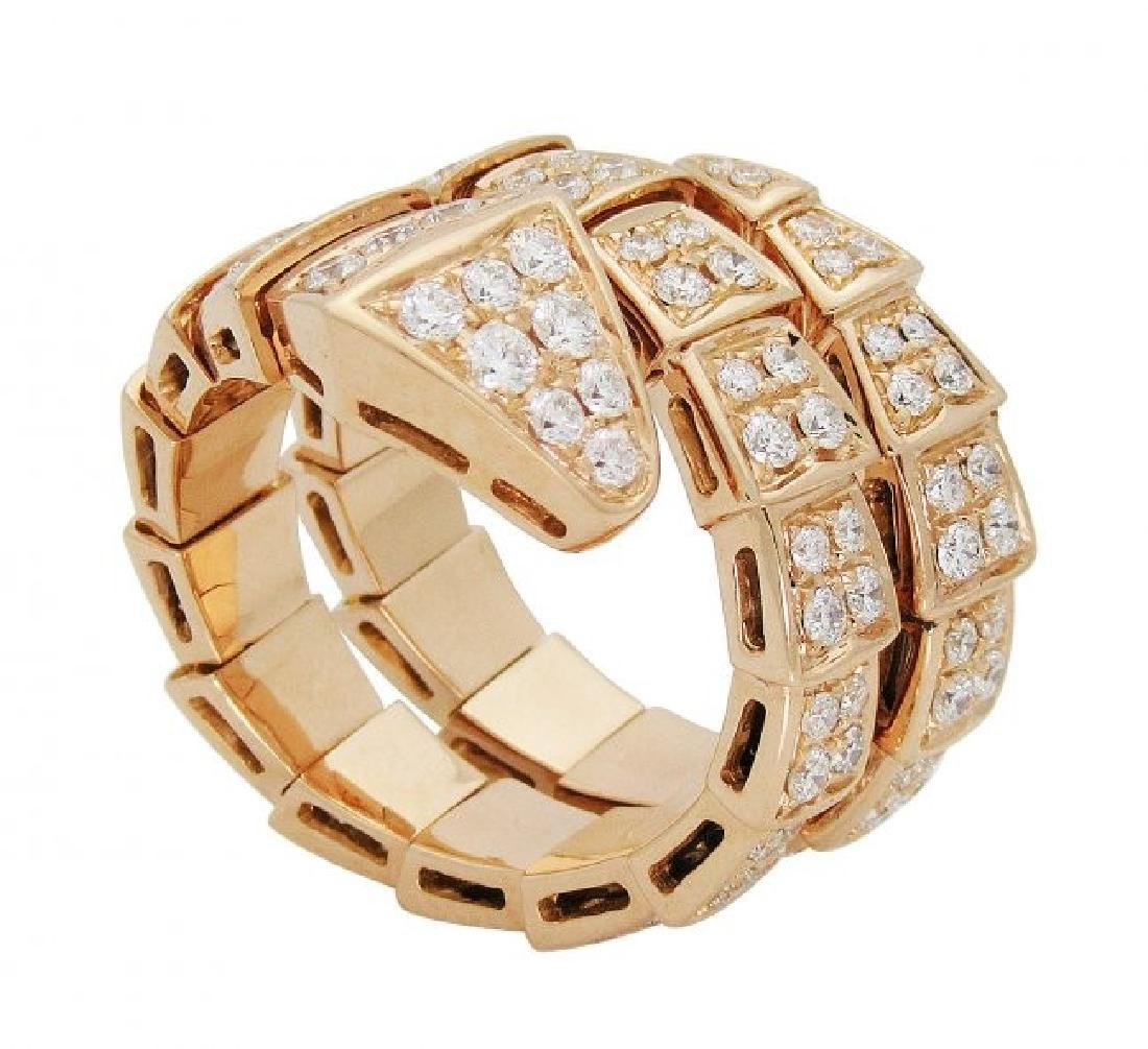 Bulgari Seprenti 18k Rose Gold Pave Diamonds Ring - 3