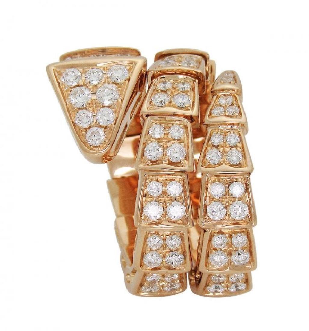 Bulgari Seprenti 18k Rose Gold Pave Diamonds Ring - 4