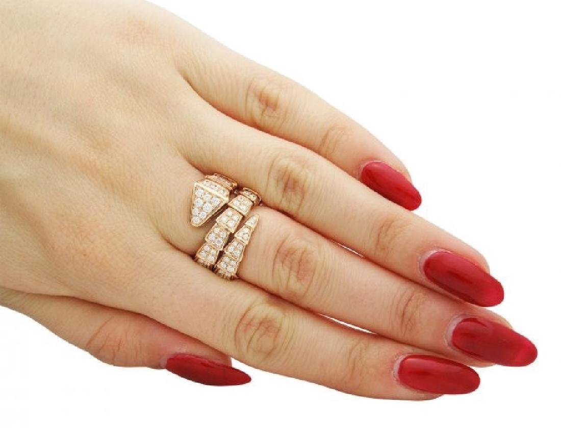 Bulgari Seprenti 18k Rose Gold Pave Diamonds Ring - 6