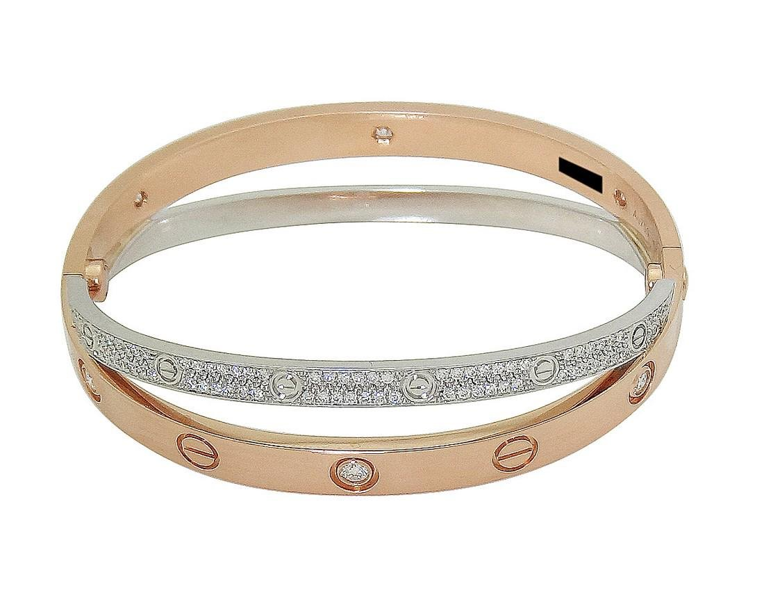 Cartier 18k Rose & White Gold Paved Diamond Double Love