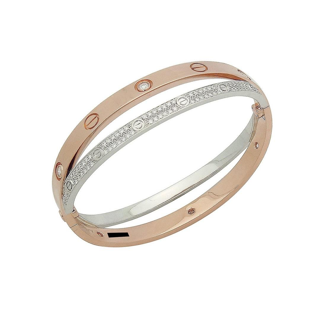 Cartier 18k Rose & White Gold Paved Diamond Double Love - 3