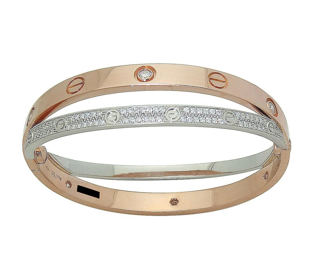 Cartier 18k Rose & White Gold Paved Diamond Double Love - 4