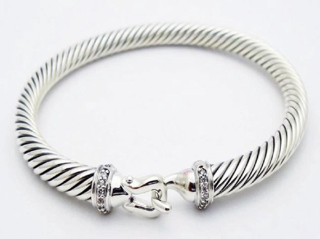 David Yurman 925 Silver Bracelet & Pave Diamonds