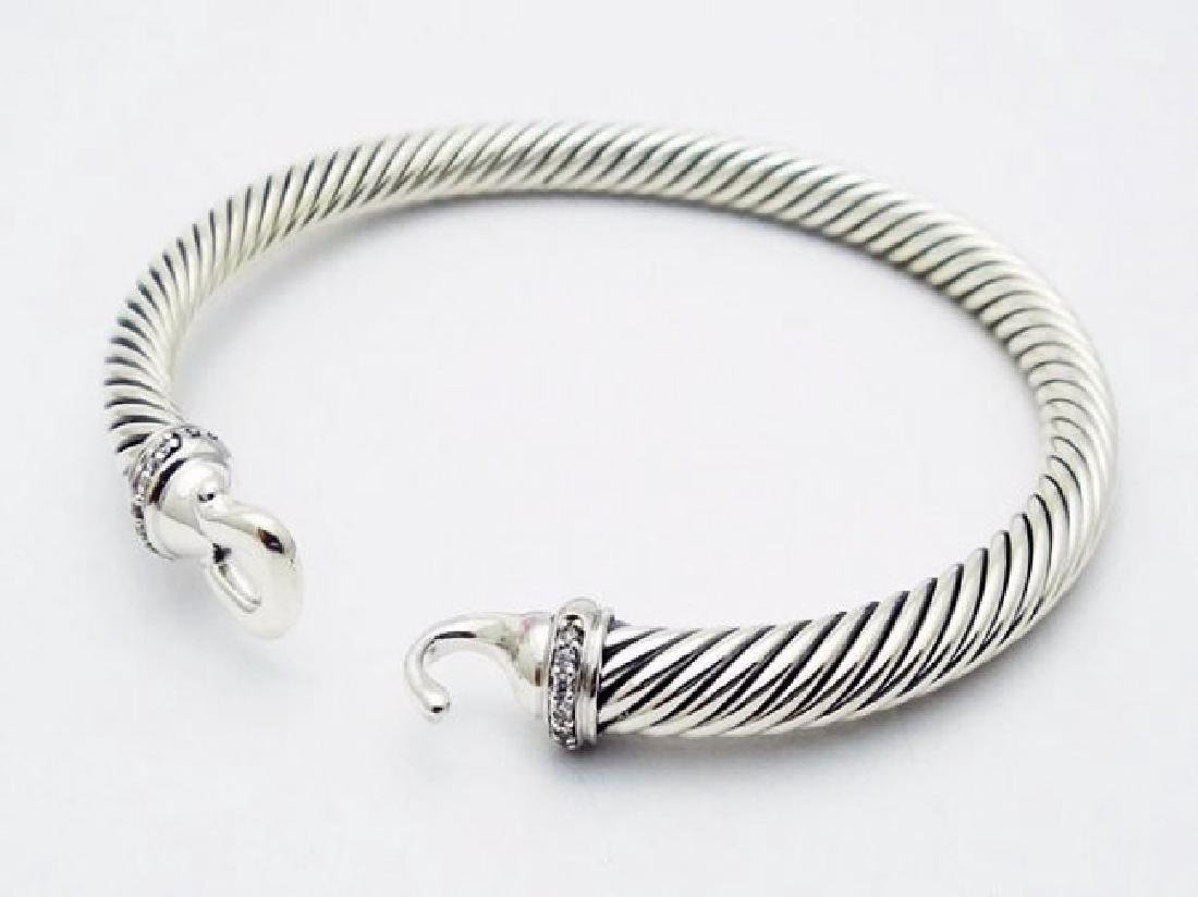 David Yurman 925 Silver Bracelet & Pave Diamonds - 2