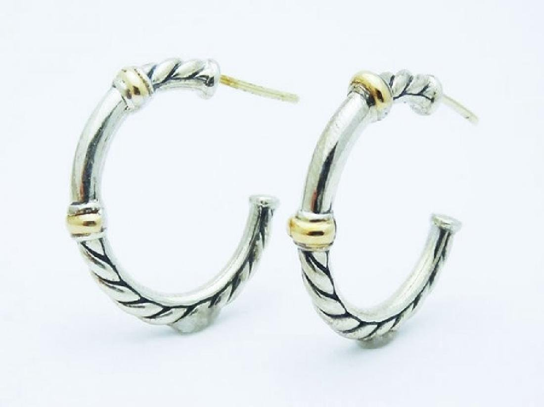 David Yurman 925 Silver Metro Hoop Earrings 18k Gold