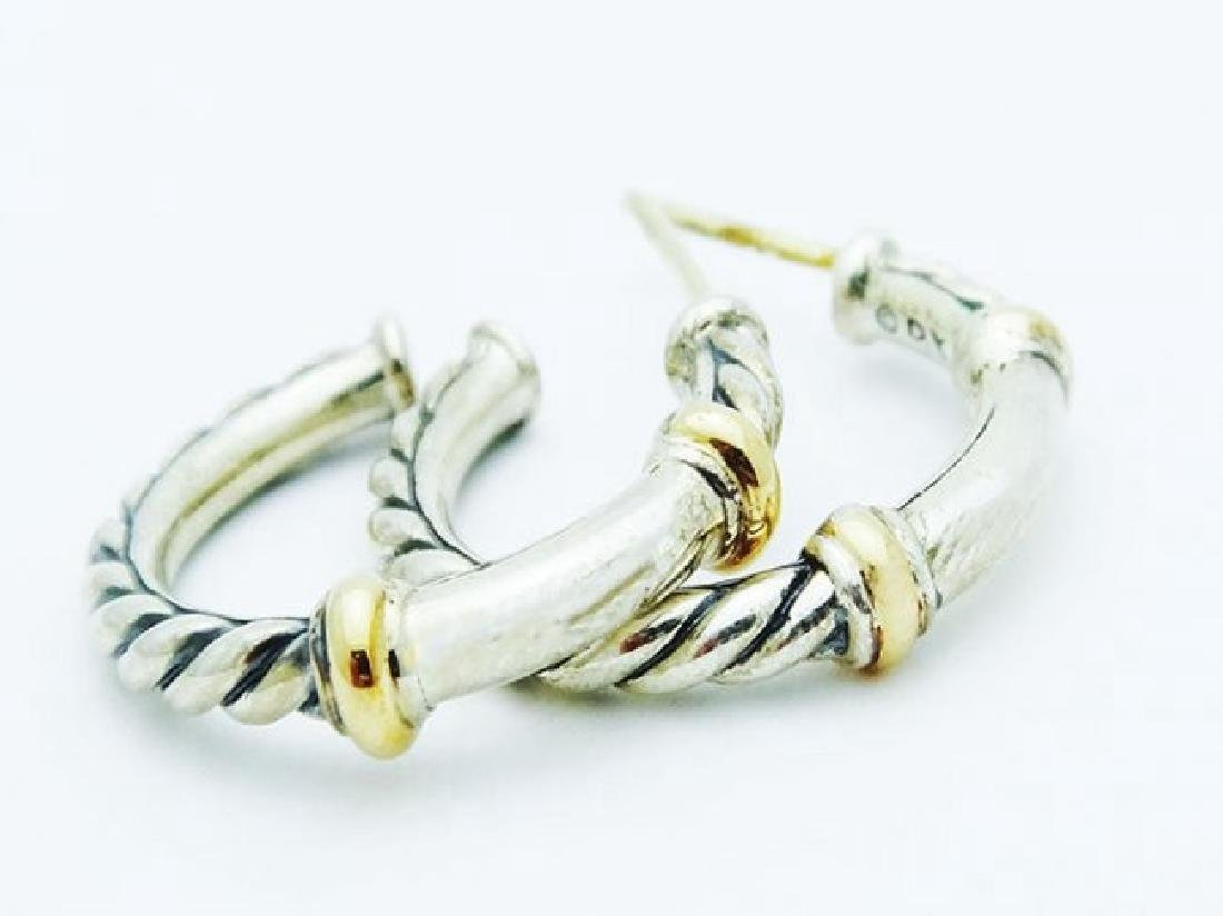 David Yurman 925 Silver Metro Hoop Earrings 18k Gold - 3