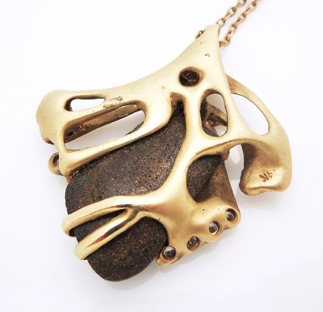 Contemporary 14k Gold organic design Pendant - 4