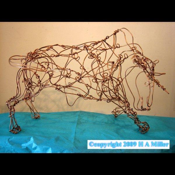 """Thai Varick Sculpture """"Bull"""" Original Copper Wire"""