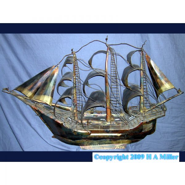 Antique Italian Ship Model Sculpture Hand Made