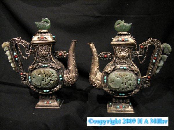 Chinese Silver Pewter Green Jade Wine Pot Teapot