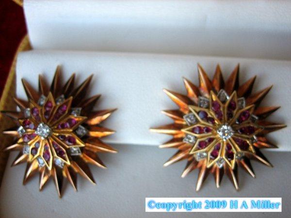 TIFFANY Brooch Earring Set Ruby Diamond Starburst
