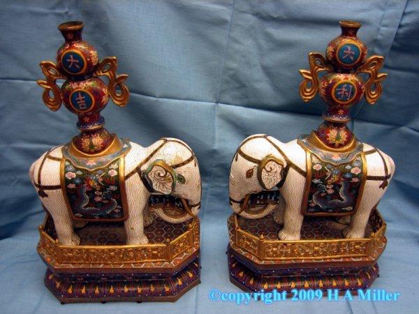 Chinese Pair Elephant Cloisonne Statues Enamel