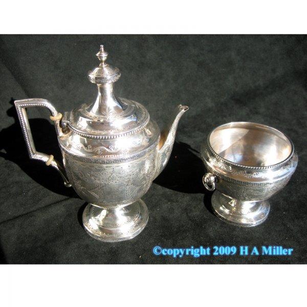 Tiffany & Co. Sterling Silver Teapot Open Sugar Set